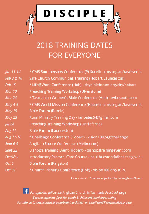 2018 Training Dates for all Tasmanians