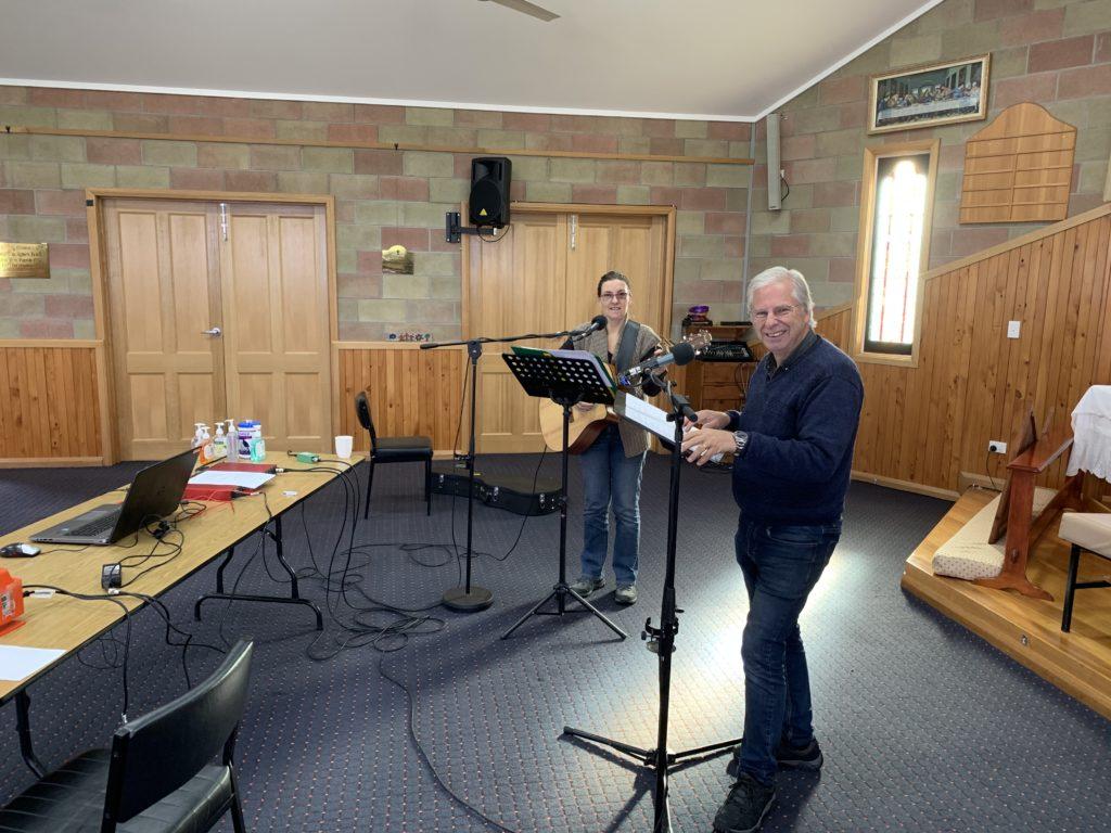 Recording a church service for King Island Radio