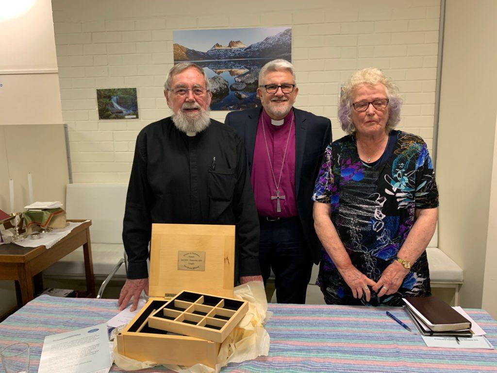 Bruce Mitchell, Bishop Richard Condie and Pru Bonham