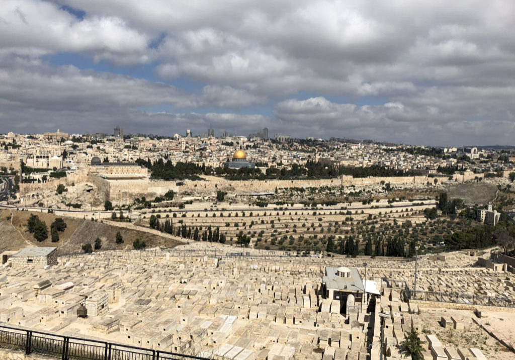 Looking from the Mount of Olives over the Kidron Velley to Temple Mount, Jerusalem