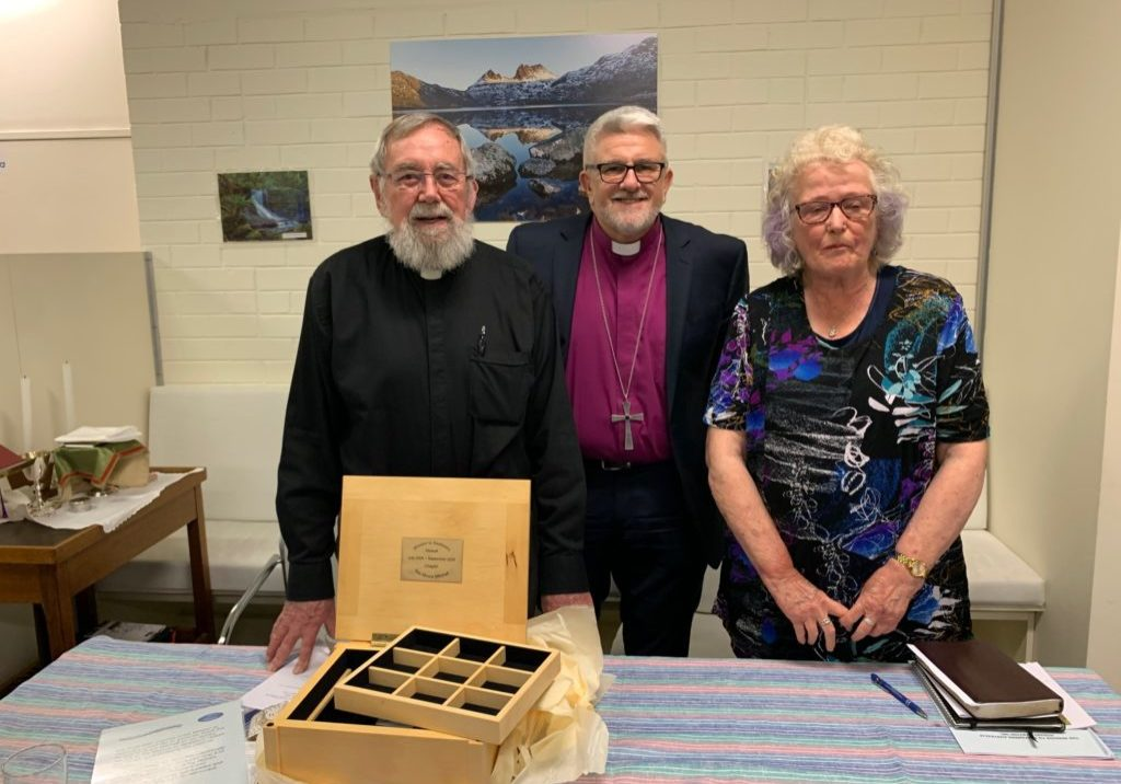 Bruce Mitchell, Bishop Richard Condie and Pru Bonham